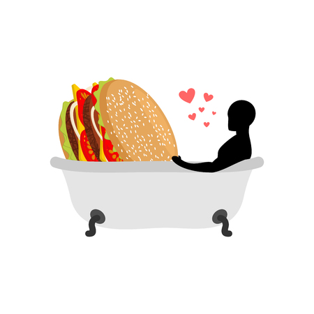lover fast food. Man and hamburger in bath. Guy and Burger. Joint bathing. Passion feelings among lovers. Romantic date fastfood. Glutton Lifestyle