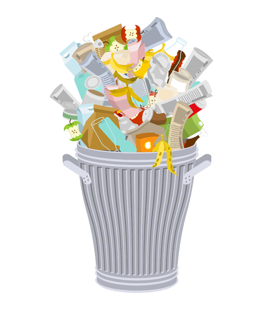 dumpster: Trash can with Rubbish isolated. Wheelie bin with Garbage on white background. Dumpster iron. peel from banana and stub. Tin and old newspaper. Bone and packaging. Crumpled paper and plastic bottle