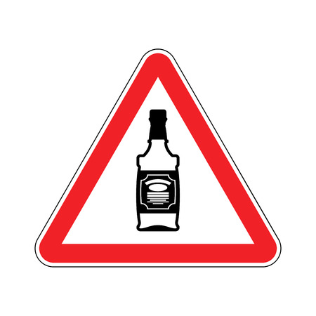 Attention alcohol. Bottle of whiskey on red triangle. Road sign Caution alcoholic