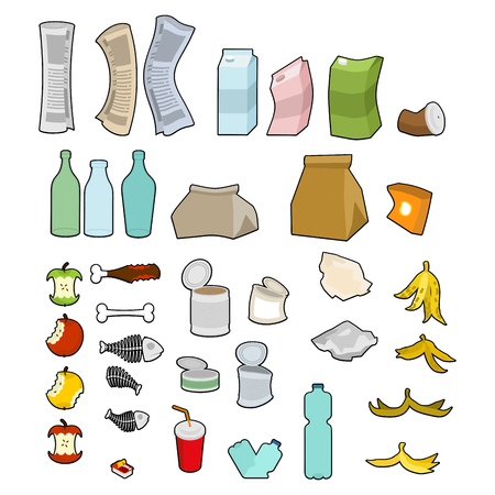 Rubbish icon collection. Garbage set. trash sign. litter symbol. peel from banana and stub. Tin and old newspaper. Bone and packaging. Crumpled paper and plastic bottle Ilustracja