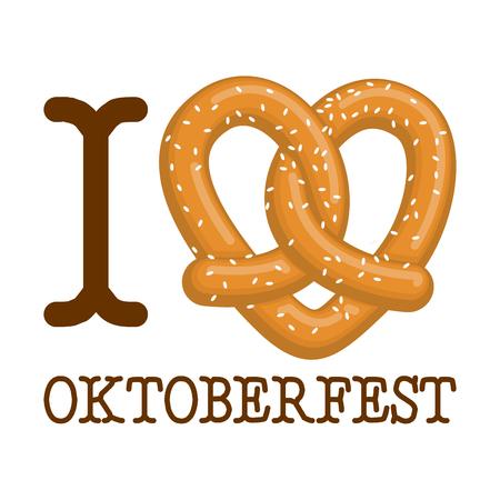 나는 옥토버 페스트를 사랑한다. 꽈배기 심장. 음식 애호가 기호입니다. 전통적인 독일 식사입니다. 독일 공휴일