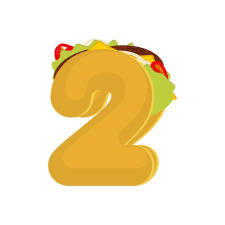 Nummer 2 taco's. Mexicaanse fastfood lettertype twee. Taco-alfabetsymbool. Mexicaanse maaltijd ABC Stock Illustratie