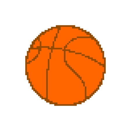 Basketball pixel art. pixelated ball isolated on white background