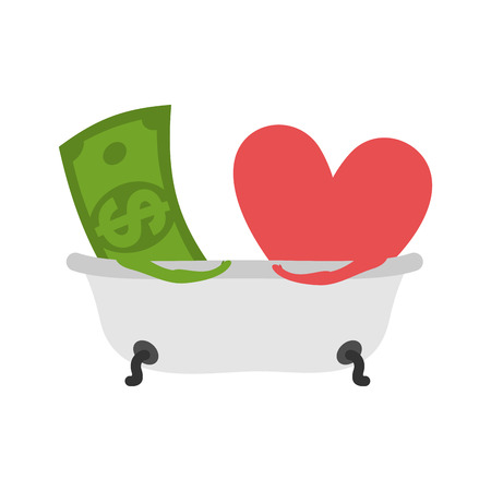 Love and money In bath. Selling love. Dollar and heart wash in bathroom