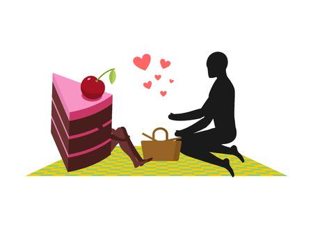 Amante de los pasteles Hombre y pedazo de pastel en picnic. Amantes y cesta y manta de picnic. Glotón de estilo de vida Vectores