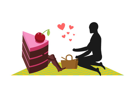 Lover of cakes. Man and piece of cake On picnic. Lovers and Basket and picnic blanket. Glutton of Lifestyle Vectores