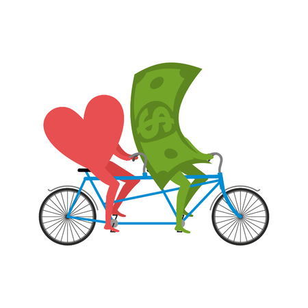 rich couple: Love and money in Tandem. Selling love. Dollar and heart cycling