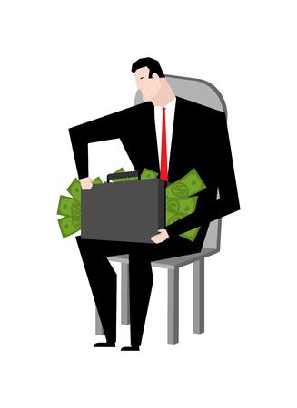 Businessman fondling money. Boss and bundle of dollars. Lot of cash and guy Illustration