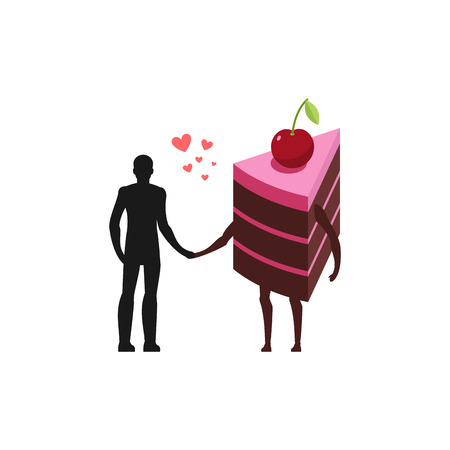 Lover of cakes. Man and piece of cake Hold on to hands. Lovers food. Glutton of Lifestyle