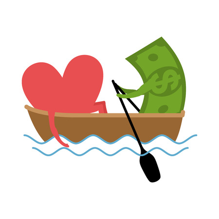 Love and money Ride in boat. Selling love. Dollar and heart Illustration