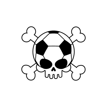 Skull soccer ball. Football skeleton head. Emblem for sports fans