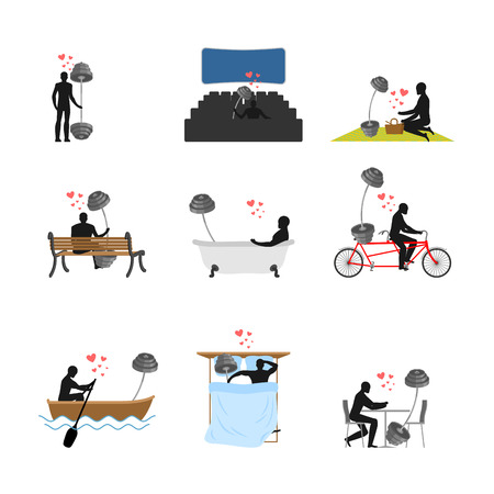 Lover Fitness set. Man and barbell in movie theater. Lovers in bath. Romantic rendezvous. boat. person sitting on bench. Joint walk. Cycling tandem. Breakfast in cafe. Picnic in park. sleeping in bed. bodybuilding Lifestyle