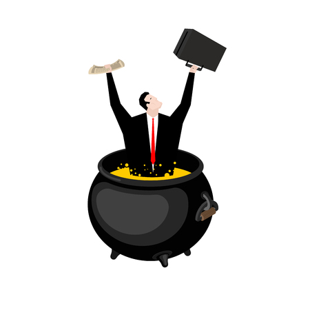 Businessman in hellish cauldron. Boss is in hell. Hot oil in boiler. Manager sinner