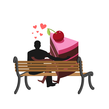 Lover of cakes. Man and piece of cake Sitting on bench. Lovers. Glutton of Lifestyle Illustration