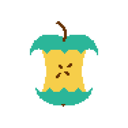 Apple core pixel art isolated on white background