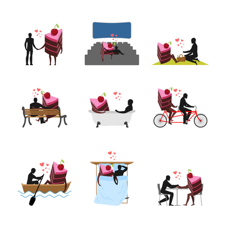 Lover of cakes set. Man and piece of cake in movie theater. Lovers in bath. Romantic rendezvous. boat. person sitting on bench. Joint walk. Cycling tandem. Breakfast in cafe. Picnic in park. sleeping in bed. Glutton Lifestyle Illustration