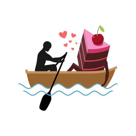 Lover of cakes. Man and piece of cake Ride in boat. Lovers. Glutton of Lifestyle