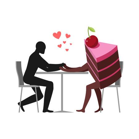 Amante de pasteles. Hombre y pedazo de pastel en café. Amantes sentados a la mesa. Glotón de estilo de vida