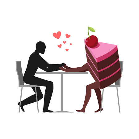 Lover of cakes. Man and piece of cake in cafe. Lovers sitting at table. Glutton of Lifestyle Illustration