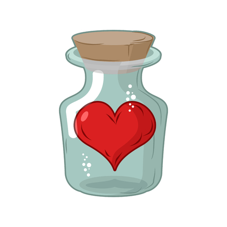 Heart in jar. Love in flask. Amur in confinement of allegory Illustration