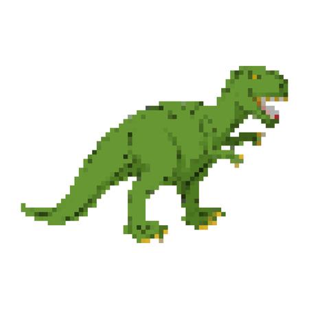 Dinosaur pixel art. Tyrannosaurus pixelated. Dino retro games. 8 bit Prehistoric Pangolin Monster Reptile Illustration