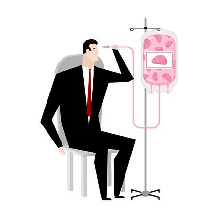 iv drip: Businessman brain transfusion. Donation of human brains bag. Transfusion of mind. Business illustration