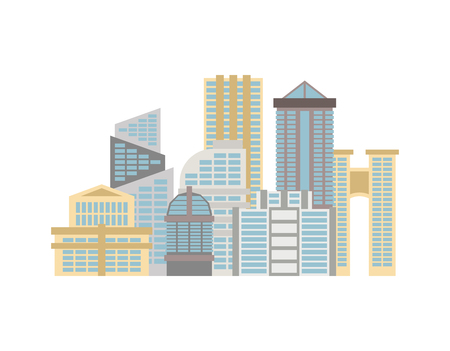 centers: City isolated. Town on white background. Many buildings and business centers.