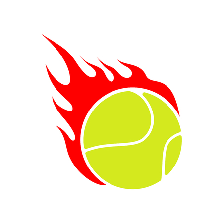 Fire tennis. Flame ball. Emblem game sport team Illustration