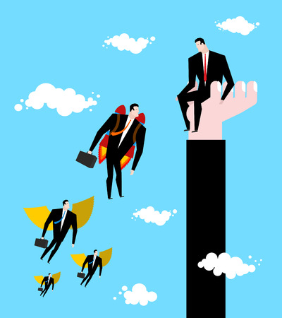 Competition Business concept. Businessman jet pack is ahead of managers with wings. Worker sits on his hand. Illustration