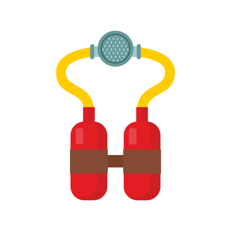 compressed air: Scuba Diving equipment. Aqualung for swimming. Mask for immersion in water. Oxygen cylinder for swimming and diving Illustration