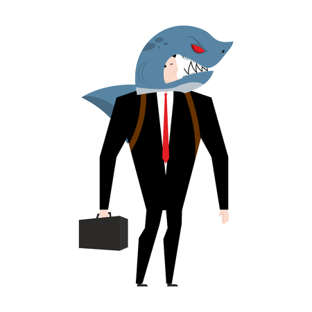Businessman in suit of shark. Allegory of business shark. Business concept Illustration