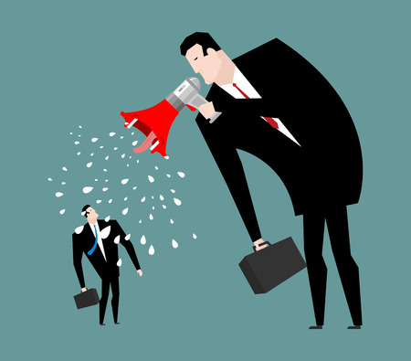 Boss screams megaphone to manager. To give orders. Businessman screaming at an employee Illustration