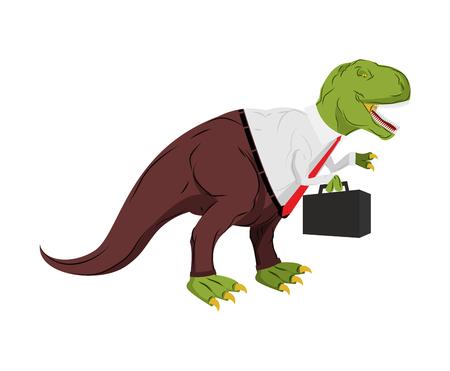 tyrant: Tyrannosaurus businessman. Dino Boss. Chief with case is prehistoric dinosaur. Ancient lizard in suit Illustration