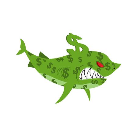 Business shark. Sea predator color dollars. finance animal concept Illustration
