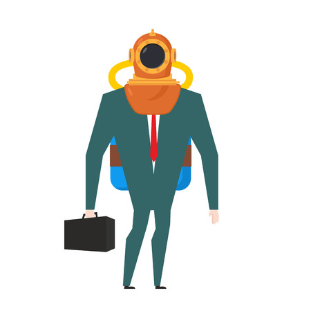 businessman is diver. Deep-water suit and oxygen tank. Business concept