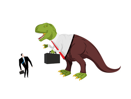 Dinosaur boss screaming at subordinate. Angry Dino Chief with case. Prehistoric dinosaur. Ancient lizard in suit Illustration