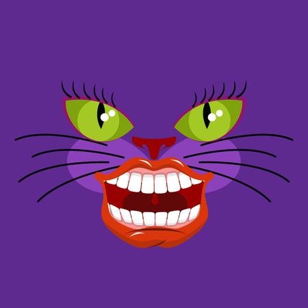 Cheshire cat is an animal from Alice in Wonderland. Broad smile. Teeth and Mouth Illustration