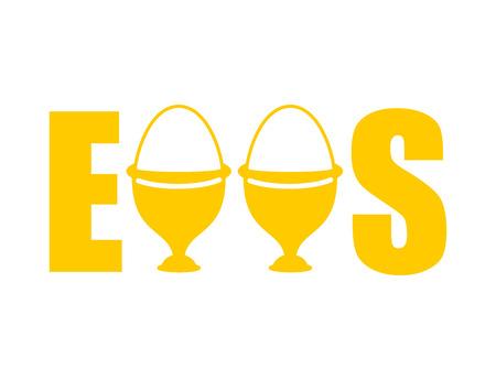 Eier Typografie. Eierbecher Beschriftung. Essen essen Standard-Bild - 76158499