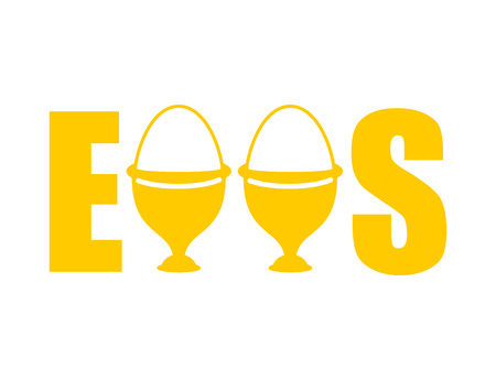 Eggs typography. egg cups Lettering. Eating food