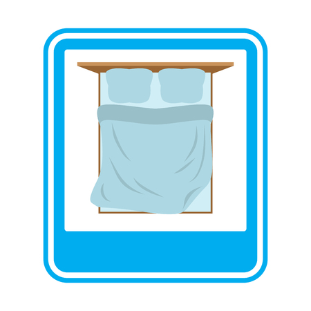 staying: Bed Road sign overnight. Hotel symbol. Blue Rectangle
