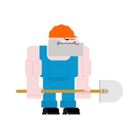 Worker with shovel. Road Worker in helmet and blue overall. man at work Illustration