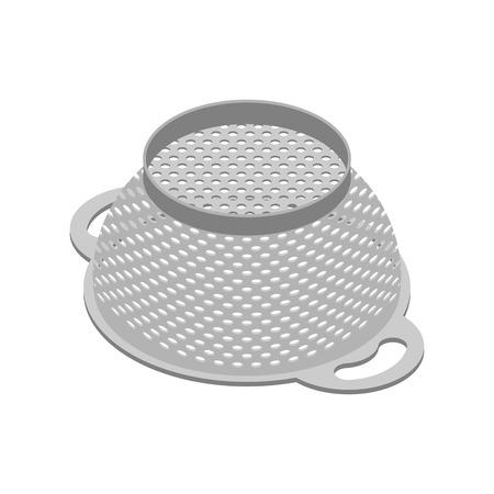 Colander isolated isometry. Pastafarianism cap. Cooking utensils Illustration