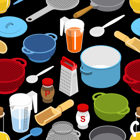 colander: Ingredients and tableware utensil seamless pattern. Grater and colander. Illustration