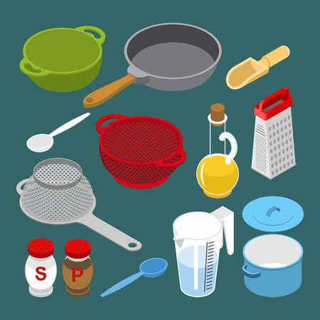 Ingredients and utensils set isometry. Grater and colander. Pan and saucepan. Cheese and chicken.