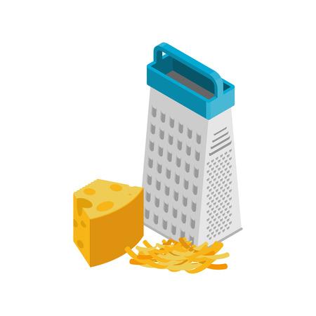粉チーズとおろし金が分離されました。白い背景の上の食材