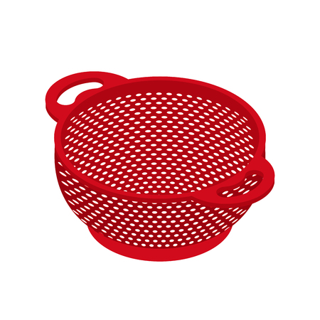 Colander isolated isometry. Pastafarianism cap. Cooking utensils Illustration