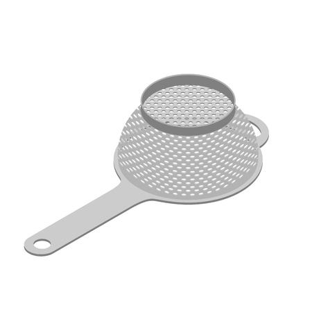 percolate: Colander isolated isometry. Pastafarianism cap. Cooking utensils Illustration
