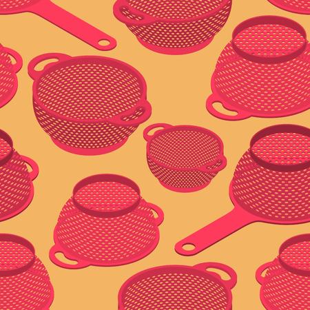 Colander seamless pattern. Pastafarianism cap background. Kitchen utensils texture.