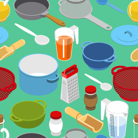 Ingredients and tableware utensil seamless pattern. Grater and colander. Pan and saucepan. Cheese and chicken. Bacon and mushrooms. Set for cooking a background