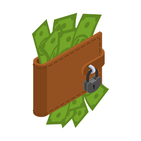 Money is protected. Wallet with cash and padlock. Blocking dollars to prevent their kidnapping Illustration